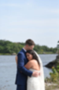 Michael & Miranda pose for a formal photo prior to their August 2018 wedding ceremony at the Squantum Association in Riverside, Rhode Island.