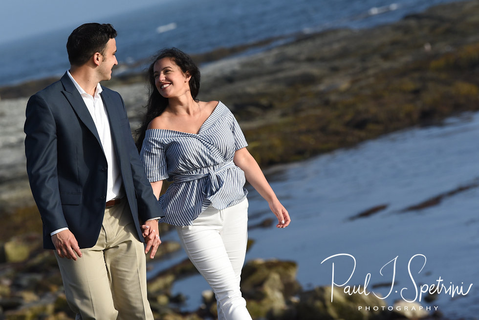 Jocelyn & Ricky pose for a photo during their July 2018 engagement session on Ocean Road in Newport, Rhode Island.