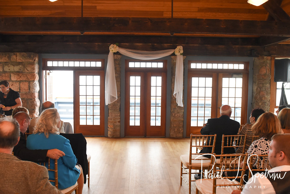 A look at the ceremony site prior to Nicole & Dan's September 2018 wedding ceremony at The Towers in Narragansett, Rhode Island.