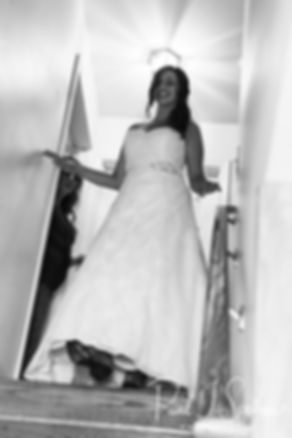 Karolyn walks down the stairs prior to her August 2018 wedding ceremony at a private residence in Sterling, Connecticut.