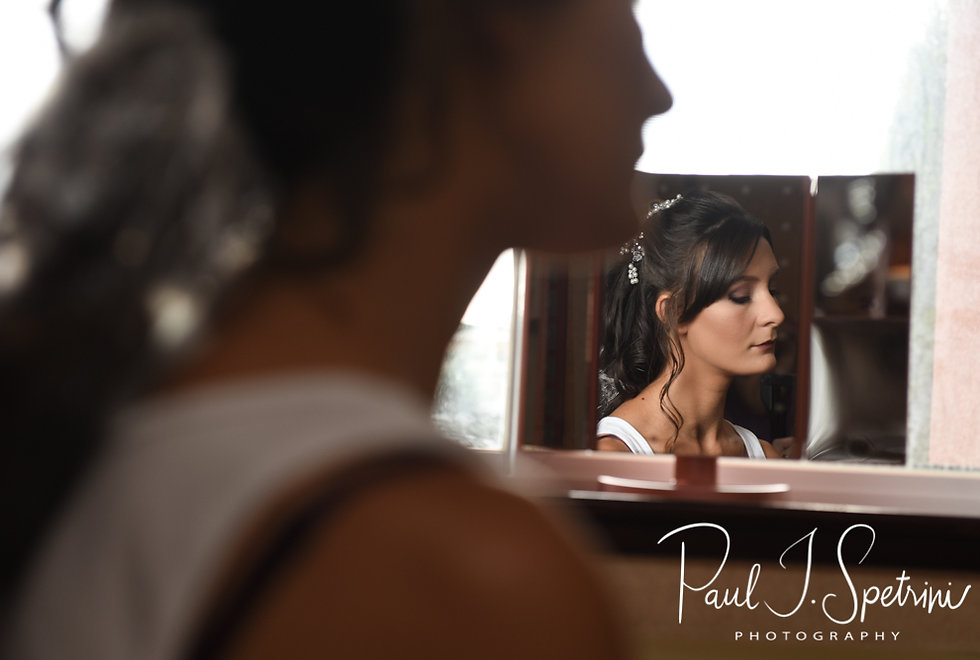 Beth has her hair and makeup done prior to her August 2018 wedding ceremony at Fort Phoenix in Fairhaven, Massachusetts.