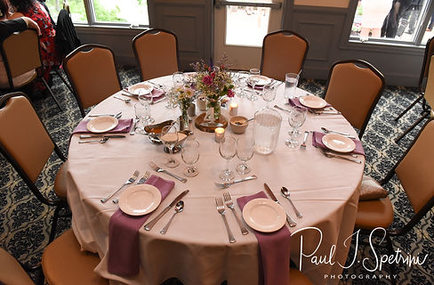 A look at the tables during Kendra & Joe's May 2018 wedding reception at Crystal Lake Golf Club in Mapleville, Rhode Island.