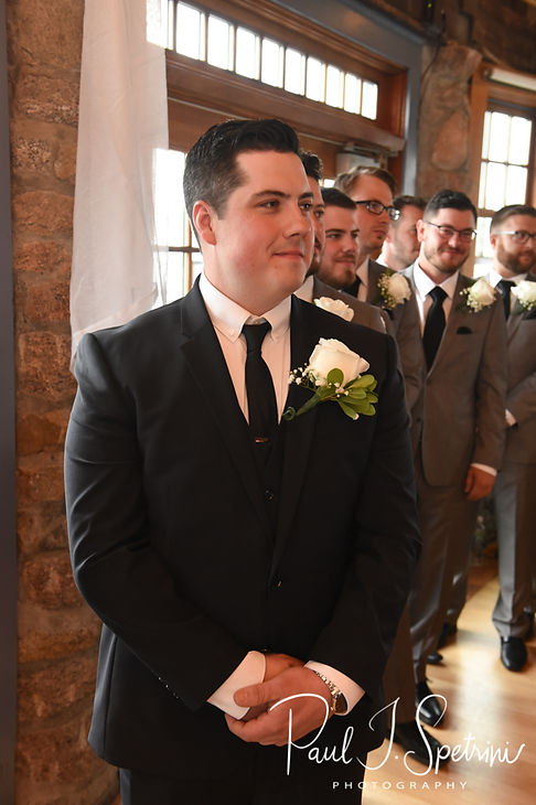 Dan watches as Nicole walks down the aisle during his September 2018 wedding ceremony at The Towers in Narragansett, Rhode Island.