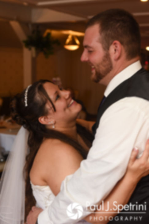 Clarissa and Jeffrey dance during their June 2017 wedding reception at Twelve Acres in Smithfield, Rhode Island.