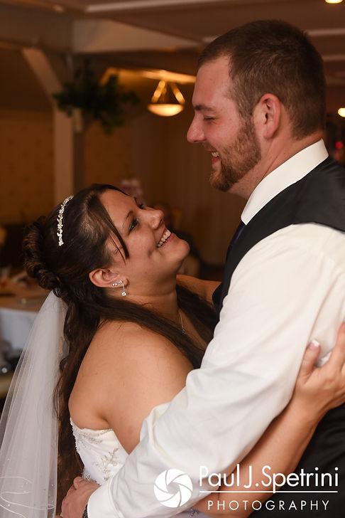 Clarissa and Jeffrey dance during their June 2017 wedding reception at Twelve Acres in Smithfield, Rhode Island.