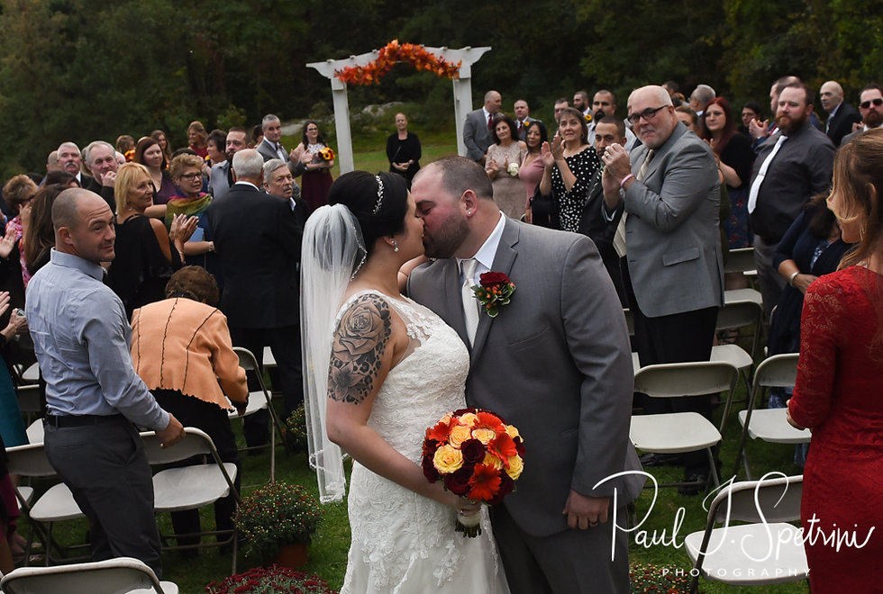 Justine and Jon kiss following their October 2018 wedding ceremony at Twelve Acres in Smithfield, Rhode Island.