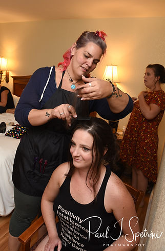 Selah has her hair done prior to her August 2018 wedding ceremony at The Rotunda Ballroom at Easton's Beach in Newport, Rhode Island.