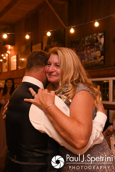 Dale and his mother dance during his October 2017 wedding reception at the Golden Lamb Buttery in Brooklyn, Connecticut.