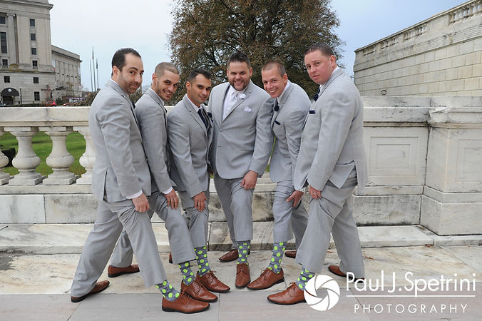 Nathan pose for a photo with his groomsmen at the Rhode Island Statehouse prior to their November 2017 wedding reception at Quidnessett Country Club in North Kingstown, Rhode Island.