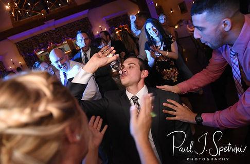 Guests dance during Nicole & Kurt's November 2018 wedding reception at the Publick House Historic Inn in Sturbridge, Massachusetts.