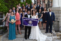 Brian and Sarah pose for a photo with friends following their June 2018 wedding ceremony at the College of the Holy Cross in Worcester, Massachusetts.