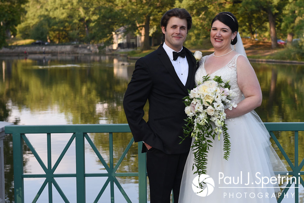 Allison and Len pose for a formal photo following their September 2017 wedding ceremony at the Roger Williams Park Casino in Providence, Rhode Island.