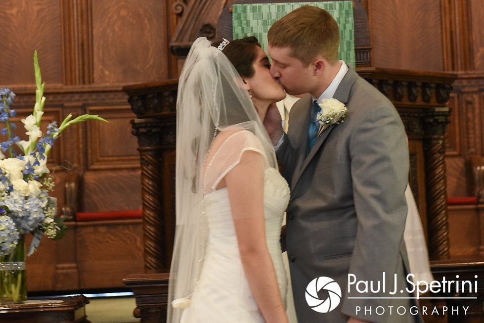 Neil and Gianna share their first kiss during their July 2017 wedding ceremony at Peace Dale Congregational Church in South Kingstown, Rhode Island.