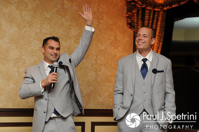 The two best men give a speech during Nathan and Amy's November 2017 wedding reception at Quidnessett Country Club in North Kingstown, Rhode Island.