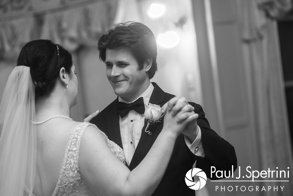 Allison and Len share their first dance as husband and wife during their September 2017 wedding reception at the Roger Williams Park Casino in Providence, Rhode Island.