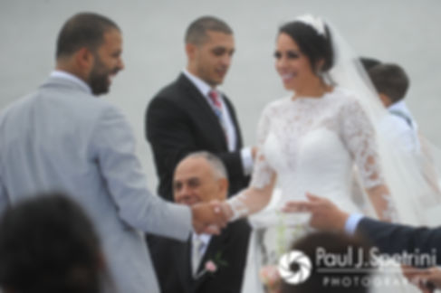 Nashua and Nader are officially announced as husband and wife during their July 2017 wedding ceremony at Belle Mer in Newport, Rhode Island.