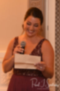 The maid of honor gives a toast during Katie & Steve's October 2018 wedding reception at The Villa at Ridder Country Club in East Bridgewater, Massachusetts.