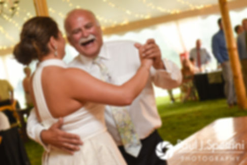 Molly dances with her father during her June 2017 wedding reception at Farmhouse-By-The-Sea in Matunuck, Rhode Island.