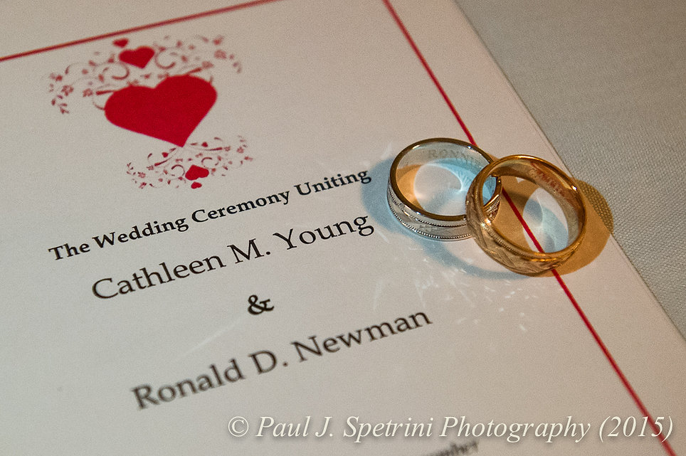 Cathy and Ron's rings, on display at their December 2015 wedding at Quidnessett Country Club in North Kingstown, Rhode Island.