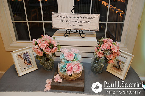 A look at some of Sean and Cassie's wedding decorations prior to their July 2017 wedding reception at Rachel's Lakeside in Dartmouth, Massachusetts.