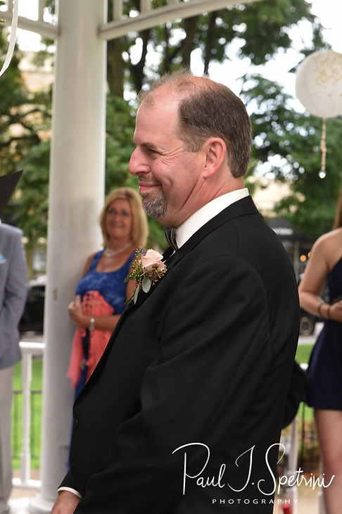 Bob looks at Patti during his August 2018 wedding ceremony at the Walter J. Dempsey Memorial Bandstand in Norwood, Massachusetts.
