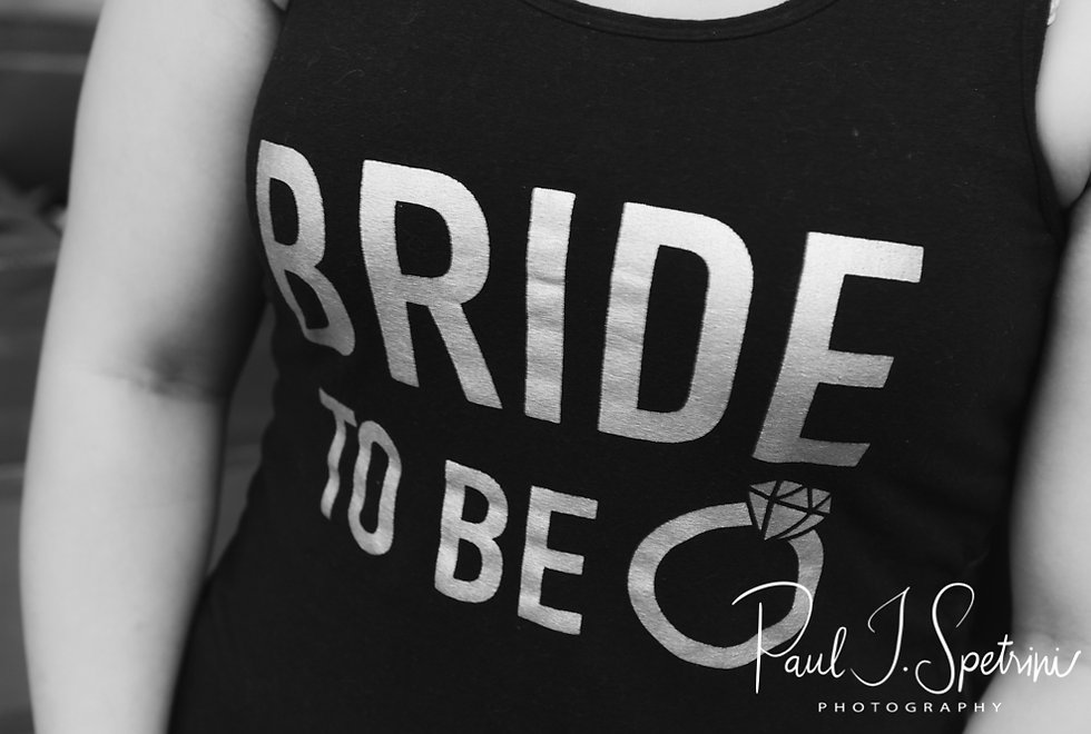 A look at the bride's shirt prior to Courtnie and Richardson's August 2018 wedding ceremony at Glad Tidings Church in Quincy, Massachusetts.