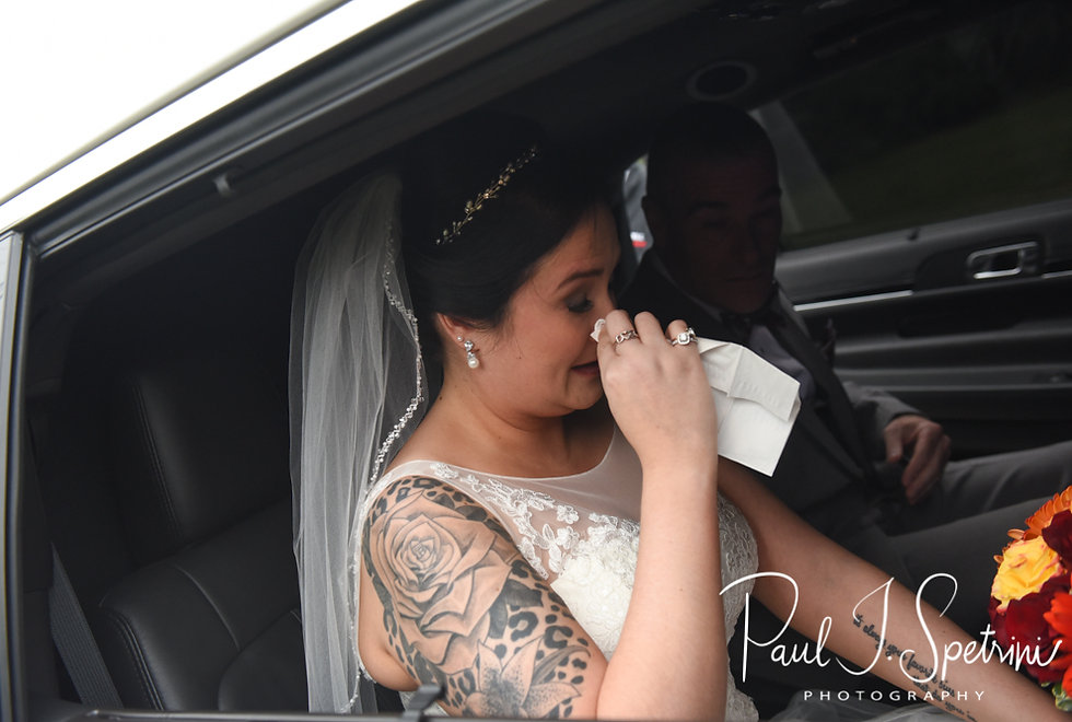 Justine sheds a tear in the limo prior to her October 2018 wedding ceremony at Twelve Acres in Smithfield, Rhode Island.