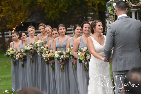 Amanda smiles at Justin during her November 2018 wedding ceremony at Five Bridge Inn in Rehoboth, Massachusetts.
