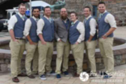 Gary and his groomsmen pose for a photo prior to his September 2017 wedding ceremony at North Beach Club House in Narragansett, Rhode Island.