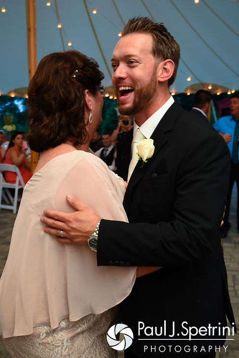Justin dances with his mother-in-law during his July 2016 wedding reception at the Overlook at Geer Tree Farm in Griswold, Connecticut.