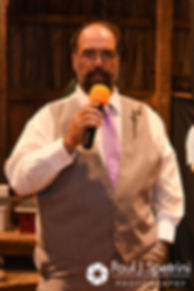 Dale's father gives a speech during Samantha and Dale's October 2017 wedding reception at the Golden Lamb Buttery in Brooklyn, Connecticut.