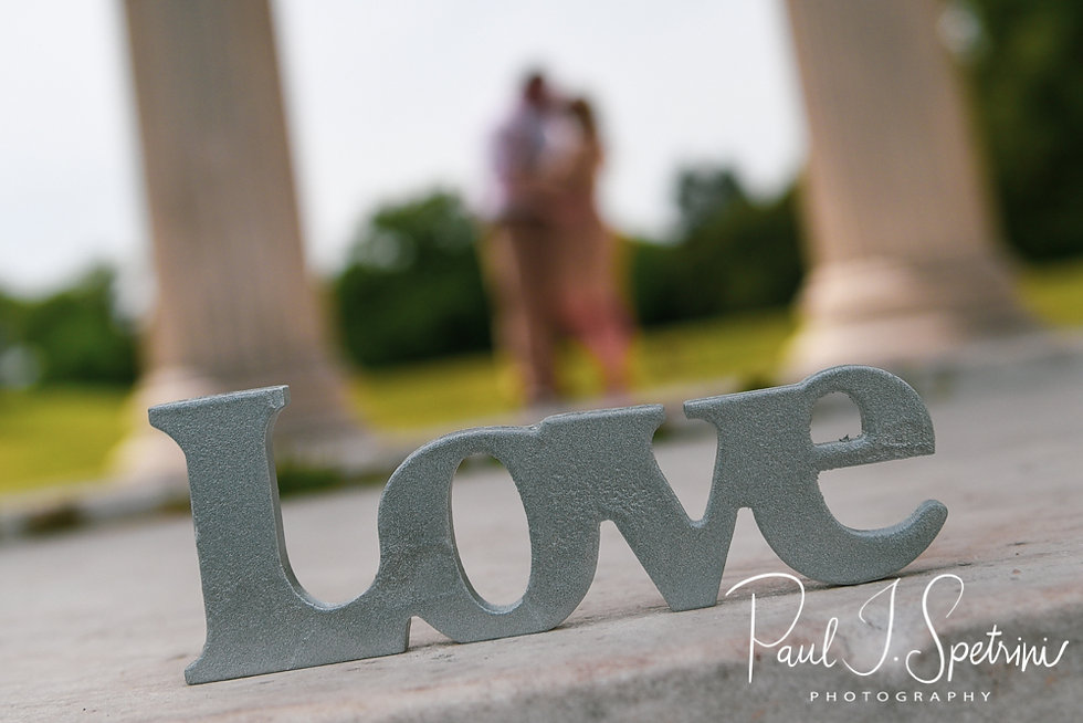 Sarah & Anthony pose for a photo during their June 2018 engagement session at the Temple of Music at Roger Williams Park in Providence, Rhode Island.