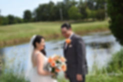 Jacob & Stephanie share a moment during their first look prior to their June 2018 wedding ceremony at Foster Country Club in Foster, Rhode Island.