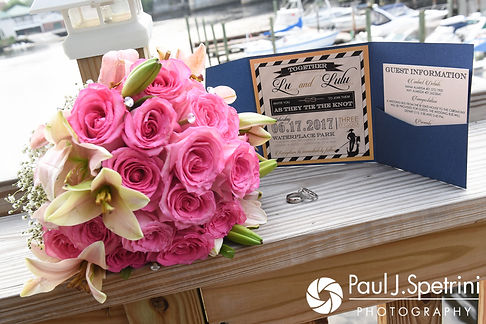 A look at Lucelene and Luis' wedding details, shown during their June 2017 wedding reception at Al's Waterfront Restaurant in East Providence, Rhode Island.