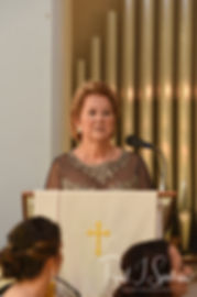 Cara's mom speaks during her November 2018 wedding ceremony at First Baptist Church in Hope Valley, Rhode Island.