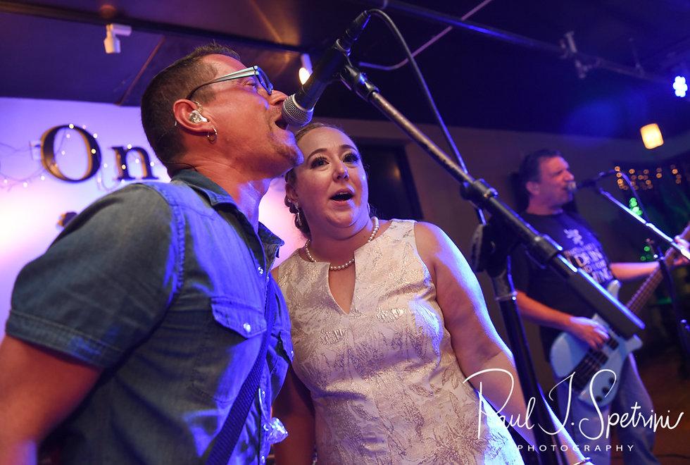 Courtney sings during her September 2018 wedding afterparty at Pub on Park in Cranston, Rhode Island.
