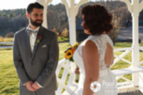 Crystal and Andy share a first look prior to their November 2016 wedding ceremony at the Salem Cross Inn in West Brookfield, Massachusetts.