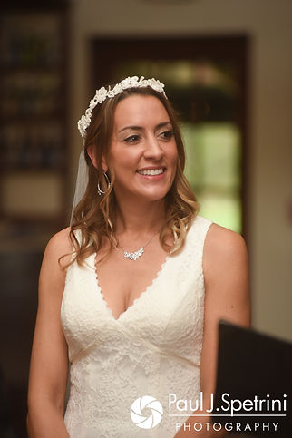 Joanna smiles during her October 2017 wedding ceremony at Cranston Country Club in Cranston, Rhode Island.