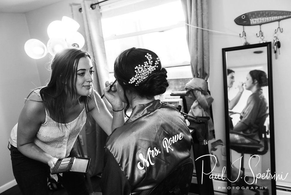 Danielle has her makeup done prior to her August 2018 wedding ceremony at the Roger Williams Park Casino in Providence, Rhode Island.