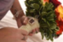 Justine holds her bouquet prior to her October 2018 wedding ceremony at Twelve Acres in Smithfield, Rhode Island.