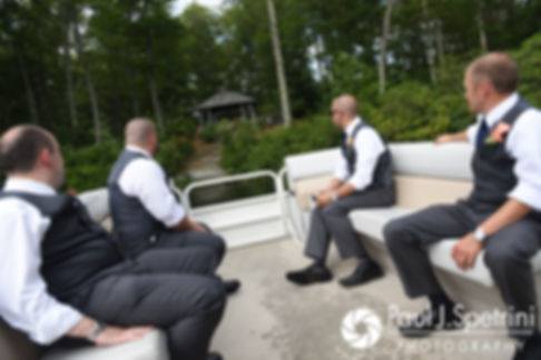 Scott and his groomsmen arrive by boat prior to his August 2017 wedding ceremony at Crystal Lake Golf Club in Mapleville, Rhode Island.