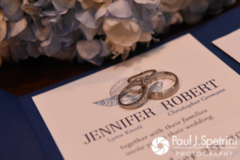 A look at Jennifer and Nicole's wedding rings during their September 2017 wedding reception at Oceanside at the Pier in Narragansett, Rhode Island.