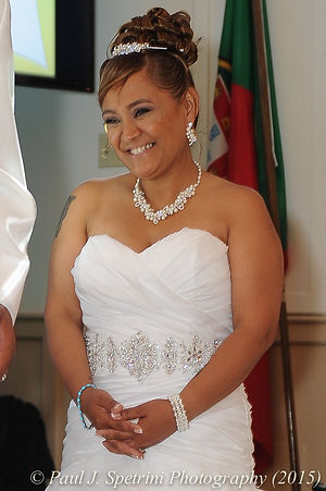 Jean Andrade smiles during her reception.