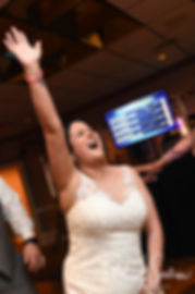 Justine dances with guests during her October 2018 wedding reception at Twelve Acres in Smithfield, Rhode Island.