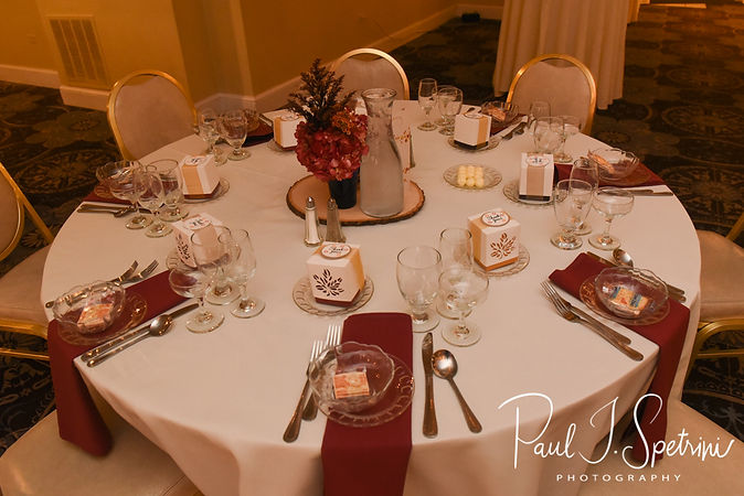 A look at the table settings during Chris & Stephanni's October 2018 wedding reception at Rachel's Lakeside in Dartmouth, Massachusetts.