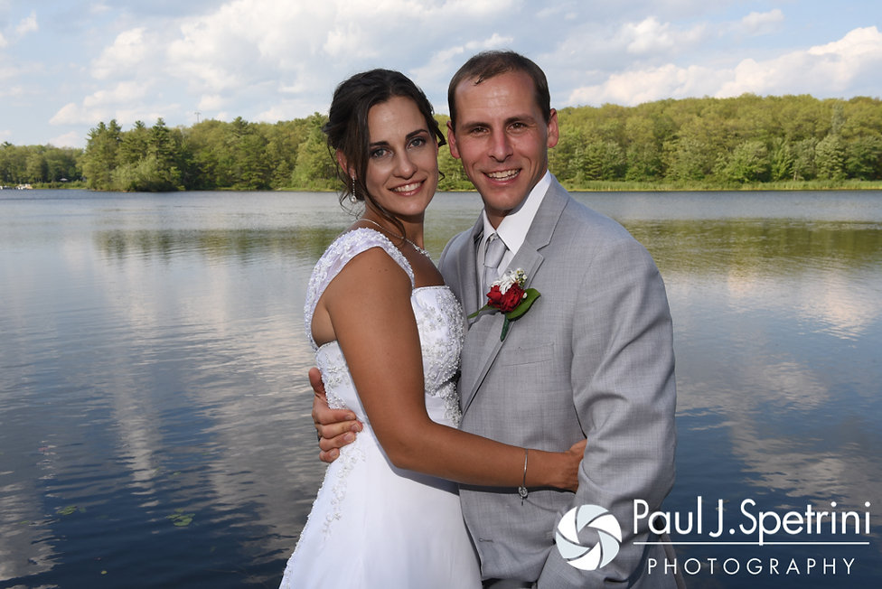 Heather and John pose for a formal photo following their July 2016 wedding reception at Crystal Lake Golf Club in Burrillville, Rhode Island.