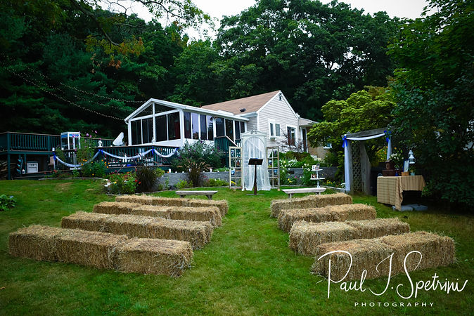 A look at the ceremony site prior to Josh & Kim's September 2018 wedding ceremony at their home in Coventry, Rhode Island.