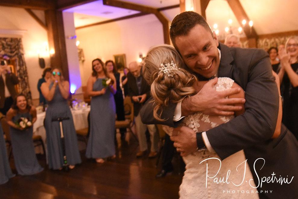 Kurt and Nicole embrace during their November 2018 wedding reception at the Publick House Historic Inn in Sturbridge, Massachusetts.