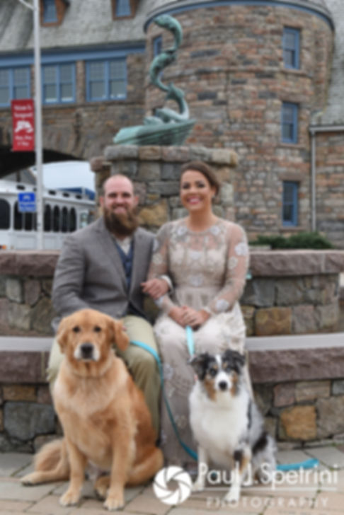 Arielle and Gary pose for a photo with their dogs prior to their September 2017 wedding ceremony at North Beach Club House in Narragansett, Rhode Island.