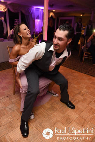 Guests get rowdy during Stacey and John's September 2017 wedding reception in Warren, Rhode Island.